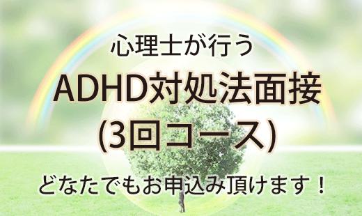 心理士が行うADHD対処法面接(3回コース)